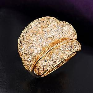3 Rows Mesh Crystal Ring