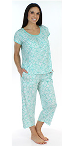 938a1ab818 ... Women s Sleepwear Bamboo Jersey Short Sleeve Top and Capri Pajama Set  for spring or summer