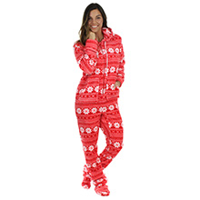 f93cbfc70f32 STM17-RED-SNOWFLAKE SLeepytimepjs mens hooded footed fleece onesie hooded  onsie christmas pajamas pj
