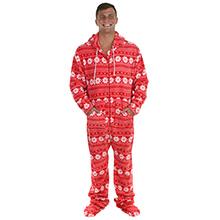 stm17 red snowflake sleepytimepjs mens hooded footed fleece onesie hooded onsie christmas pajamas pj