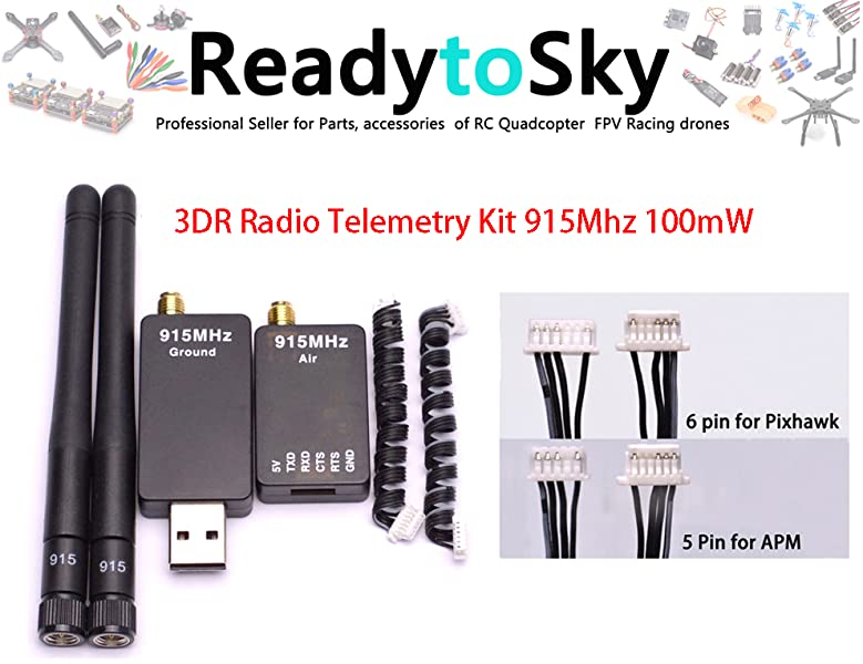 Readytosky 3DR Radio Telemetry Kit 915Mhz 100mW Air + Ground Module Open  Source for Standard Version APM2 6 APM2 8 pixhawk 2 4 6 2 4 8 Flight