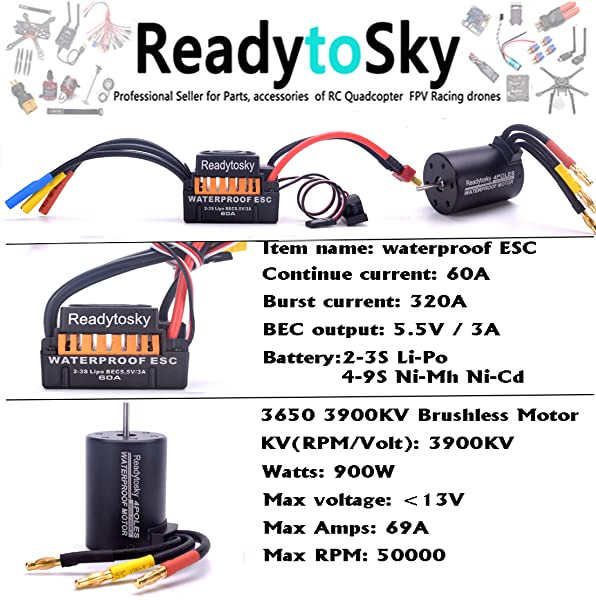 Readytosky Waterproof 3650 3900KV Brushless Motor with 60A