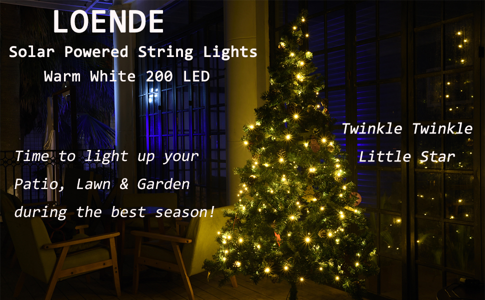 Amazon.com : LOENDE Solar String Lights Outdoor String Lights 72ft 8 ...