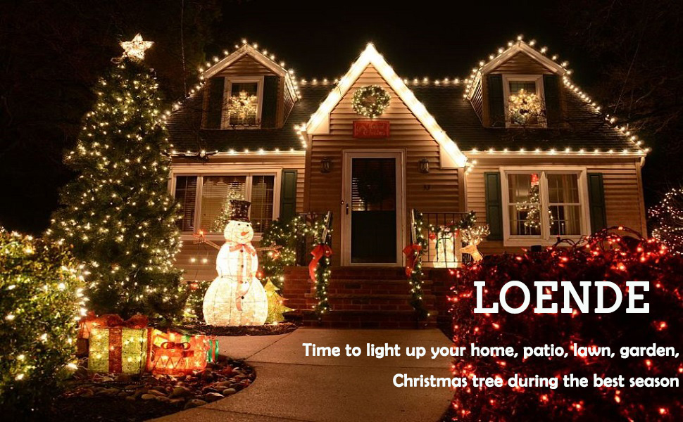 Amazon Com Loende Christmas Lights Outdoor String Lights
