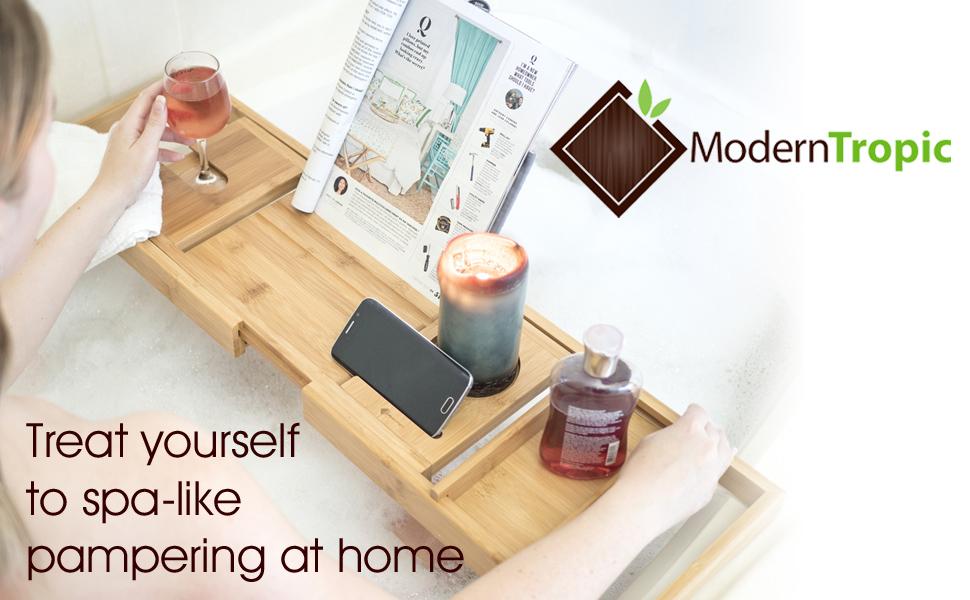 Amazon.com: ModernTropic Luxury Bamboo Bathtub Caddy and Tray ...