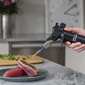 flame, hot, temperature torch, tuna, seared seafood, sous vide sear, sous vide torch