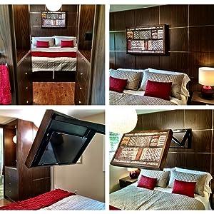 French design, remodel project, innovative, HIDDEN VISION, TV in bedroom