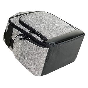 angled bottom shot of the backpack
