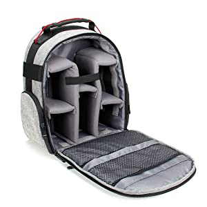 Open backpack with empty interior
