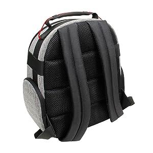 close up on back side of backpack with shoulder straps