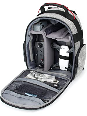 open backpack with DJI Spark and accessories inside