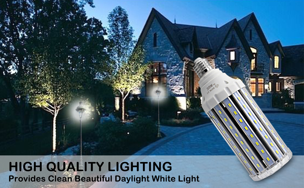 35W LED Corn Light Bulb E26 6000K Daylight White 3000LM 110V Non Dimmable Replacement 300W Conventional Halogen CFL Incandescent Light by ROWRUN