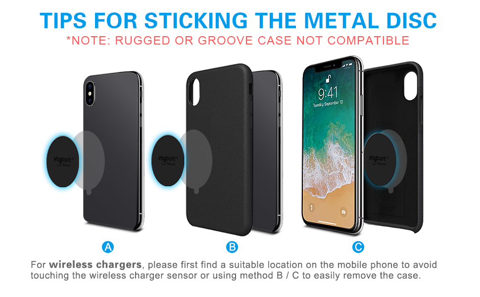 Vent//CD//Windshield//Dashboard Metal Plate for Phone Magnet - Rectangle and Round 10 Pack Volport MagicPlate with 3M Adhesive Replacement for Magnetic Phone Car Mount Holder /& Cradle /& Stand