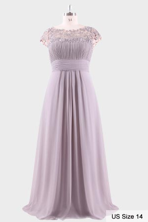 Ever Pretty Womens Cap Sleeve Lace Neckline Ruched Bust Evening Gown