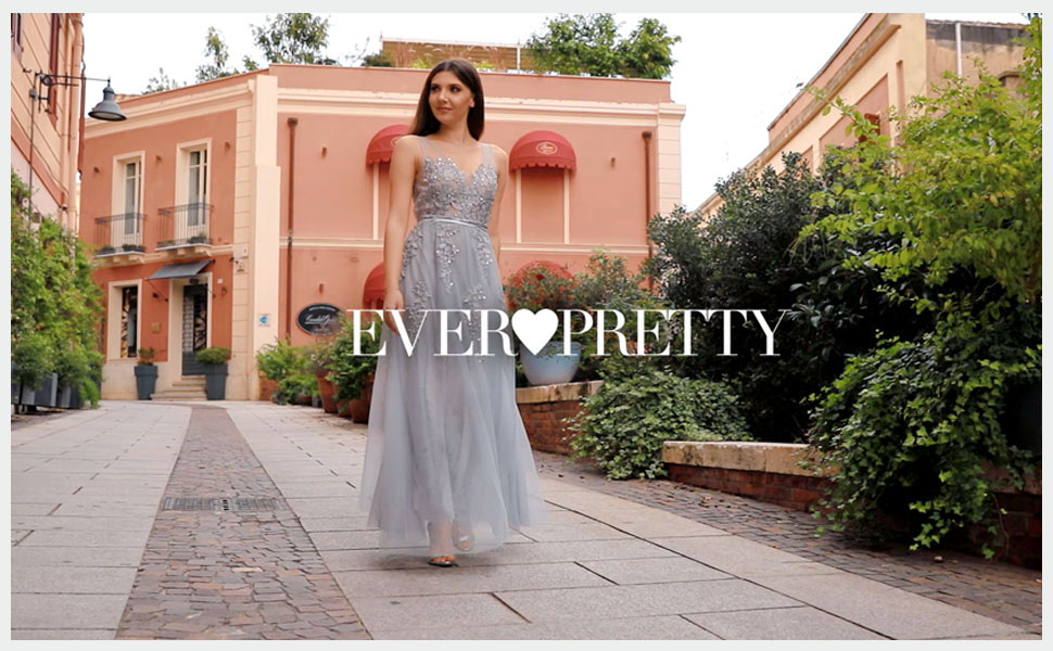 436c1e72d48 Ever-Pretty Women s V Neck Floor Length A Line Tulle Long Ethereal ...