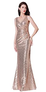 5ed84c9d67b Ever-Pretty Women's Sexy Long Deep V-Neck Sequin Evening Dress 07109 · Ever  Pretty Cowl Neck Shine Sequin Sparkle Elegant Gold Evening Party Gown 07110  ...