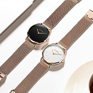 5dbab1353c42 Amazon.com  Aesop Simple Women Quartz Watch Ultra Thin Rose Gold ...