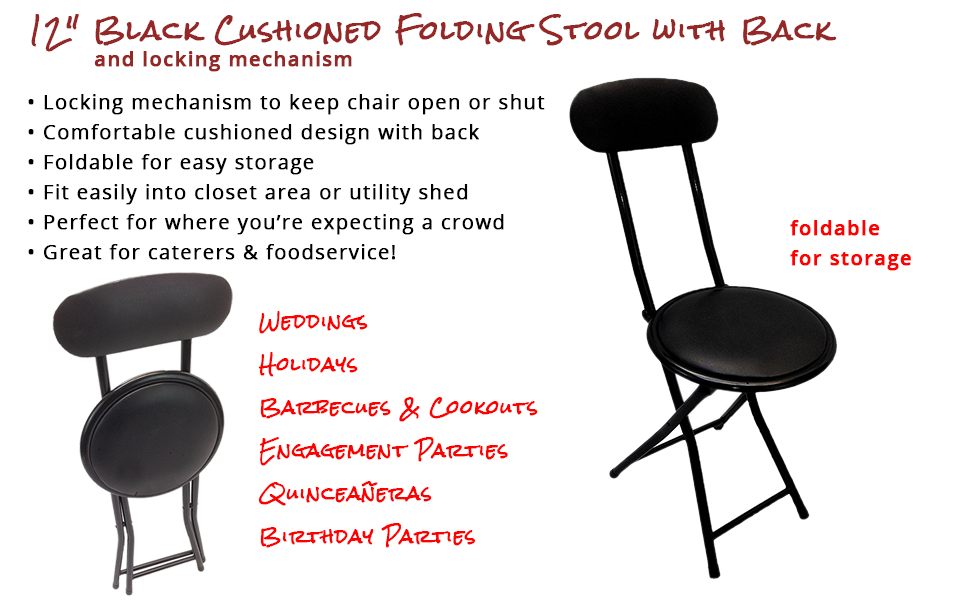 Amazon Com Portable Small Black Folding Chair Padded With