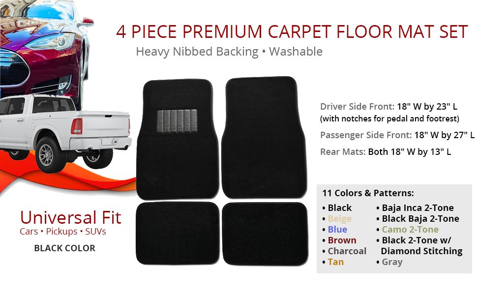 New 4 pc Universal Fit Carpet Car Floor Mats Truck SUV with Hook Backing /& Vynl Heel Pad Black