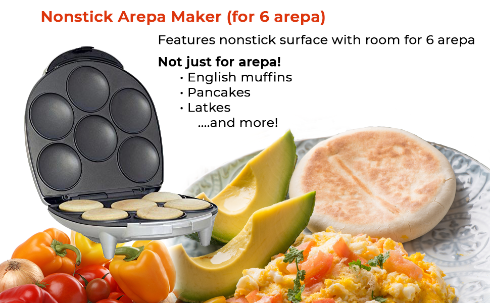 Nonstick Electric Arepa Maker for 6 Arepa