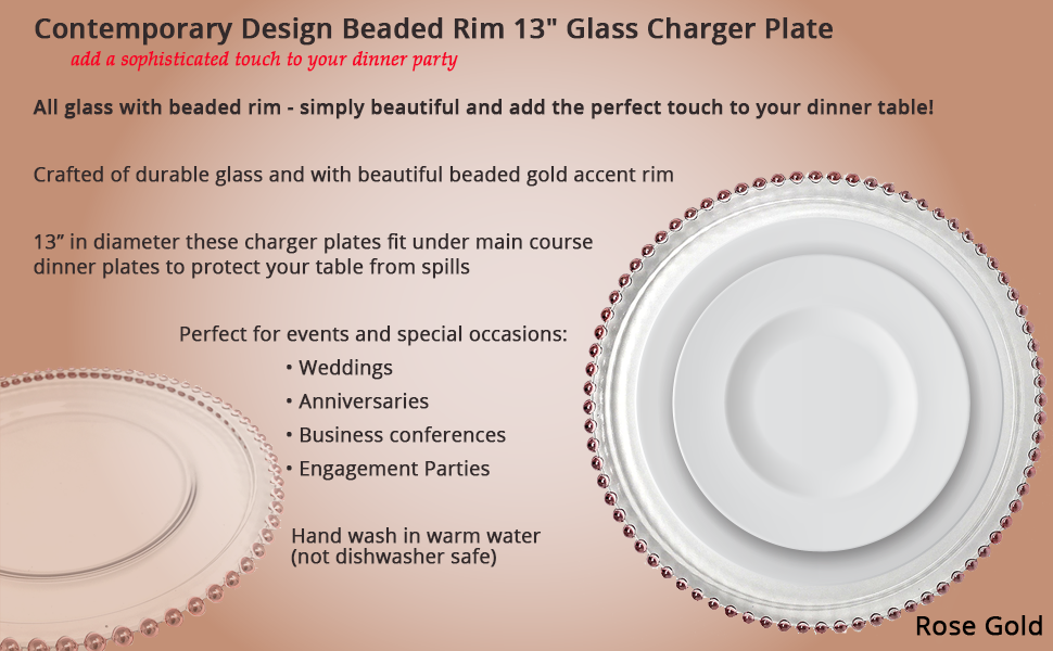 Contemporary Design Beaded Rim 13\  Glass Charger Plate ~ Rose Gold  sc 1 st  Amazon.com & Amazon.com | Beautiful Glass Dinnerware Formal 13-Inch Pink Rose ...