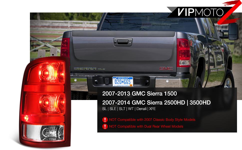 Tail Light for GMC Sierra P//U 07-10 12-14 Assembly SL//SLE//SLT//WT Models New Body Style Left Side