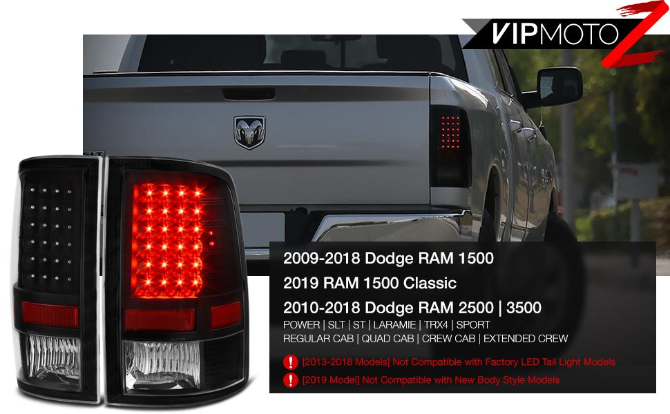 VIPMOTOZ LED Tail Light Lamp For 2009-2018 Dodge RAM 1500 2500 3500 on