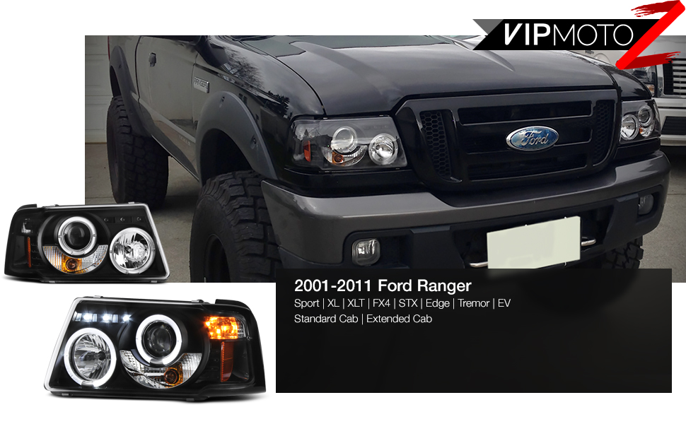 amazon com for 2001 2011 ford ranger pickup truck led halo ring black bezel projector headlight headlamp assembly replacement pair driver passenger side set automotive for 2001 2011 ford ranger pickup truck led halo ring black bezel projector headlight headlamp assembly replacement pair driver passenger side set