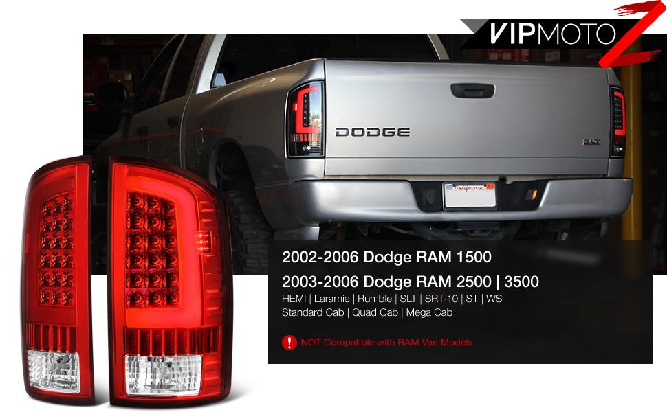 2002-06 Dodge Ram PickUp RED SMD LED Tube Tail Lamp Set License Plate Tag Light
