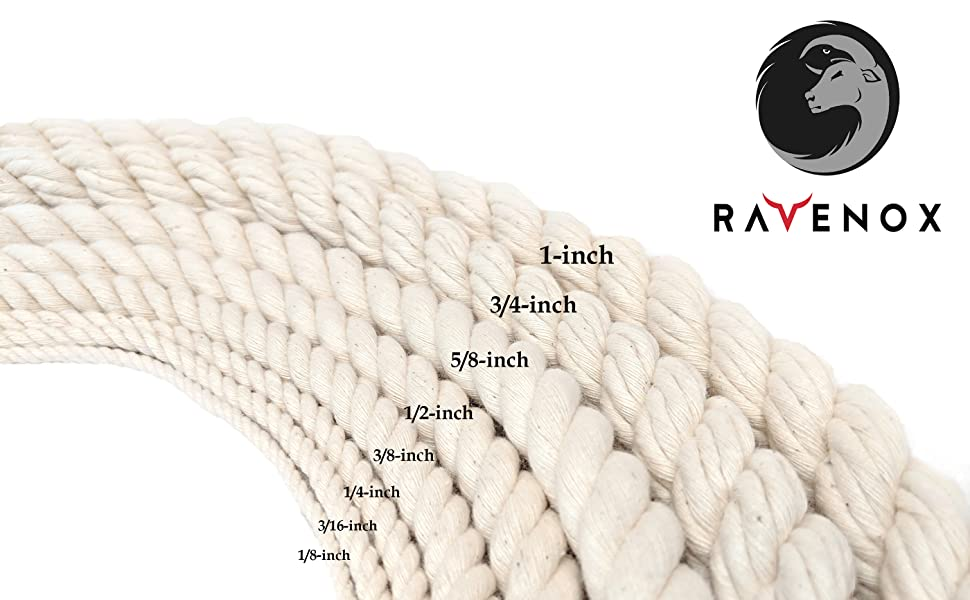 Ravenox Twisted Cotton Rope is available in 8 diameter options