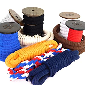 by The Foot and Diameter Macram/é and Indoor Outdoor Use Custom Color Triple-Strand Rope and Cordage for Sport Ravenox Colorful Twisted Cotton Rope Crafts Made in The USA D/écor Pet Toys