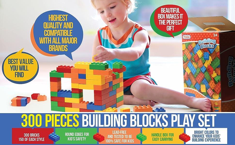 300 pcs bricks bulk set compatible building blocks toys christmas gift for kids boys girls toddlers