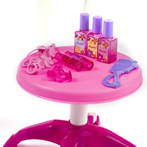 play-cosmetics - Pretend Play Kids Vanity Table And Chair Beauty Mirror And Accesories Play Set With Fashion & Makeup Accessories For Girls
