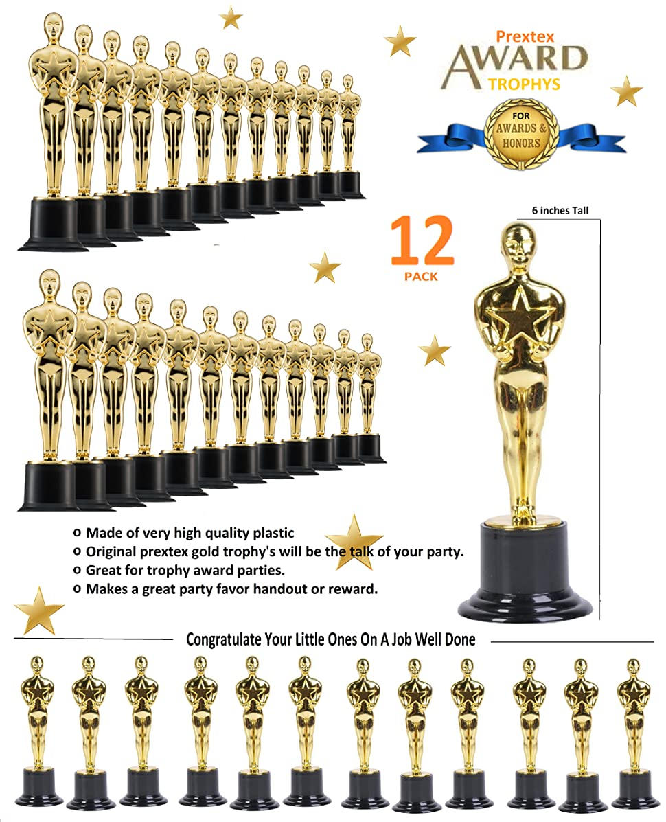 Prextex 6 Pack Award Trophies for Ceremonies or Parties 6 High Perfect Achievement Awards or Birthday Gifts for Kids and Adults