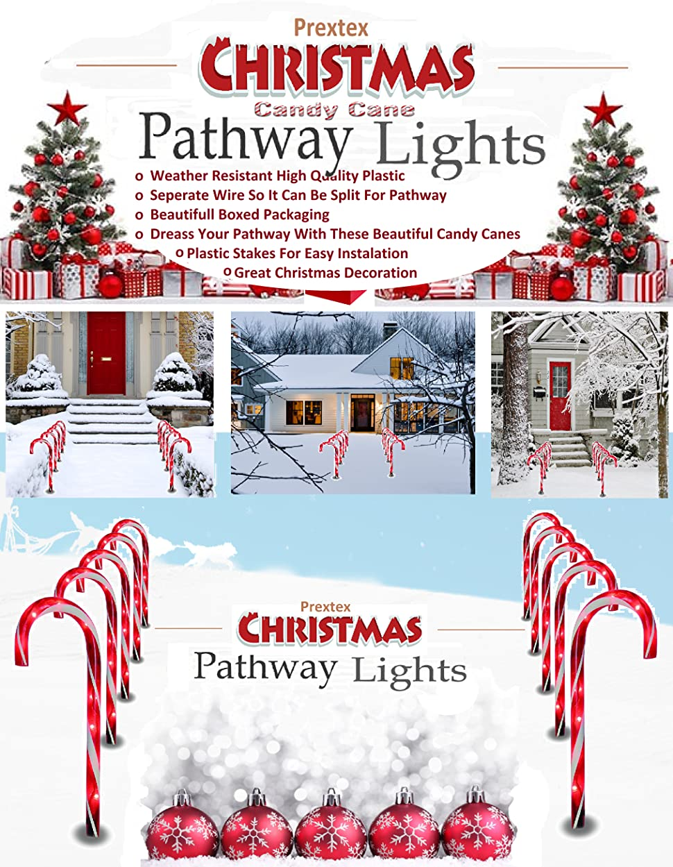 christmas candy cane pathway markers set of 10 christmas indooroutdoor decoration lights - Christmas Pathway Decorations