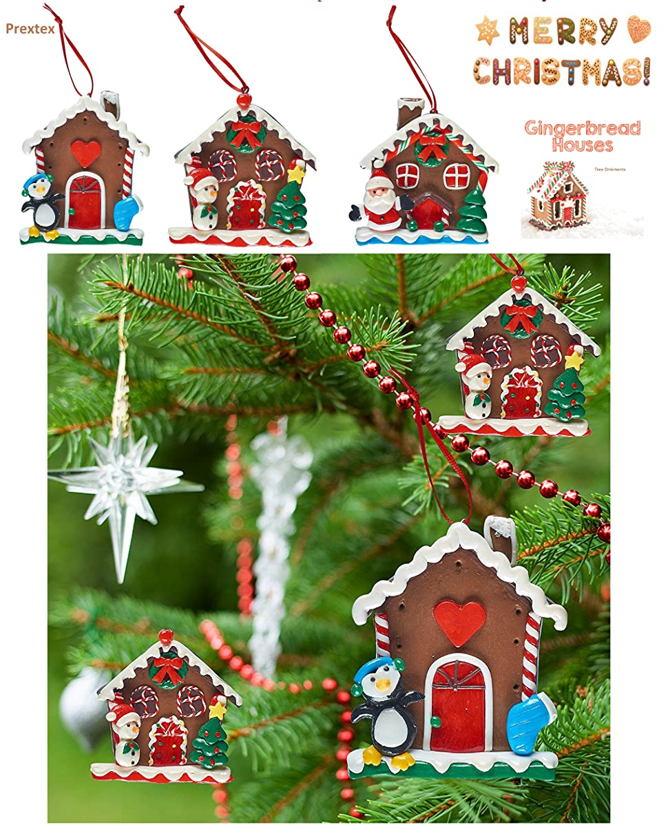 prextex 3 pack christmas ginger bread house tree ornaments great christmas decoration - Gingerbread House Christmas Decoration