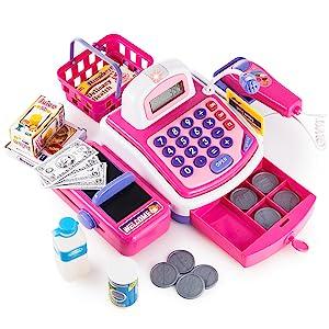 pretend play cash register with drawer scanner play money christmas gift for kids boys girls toddler
