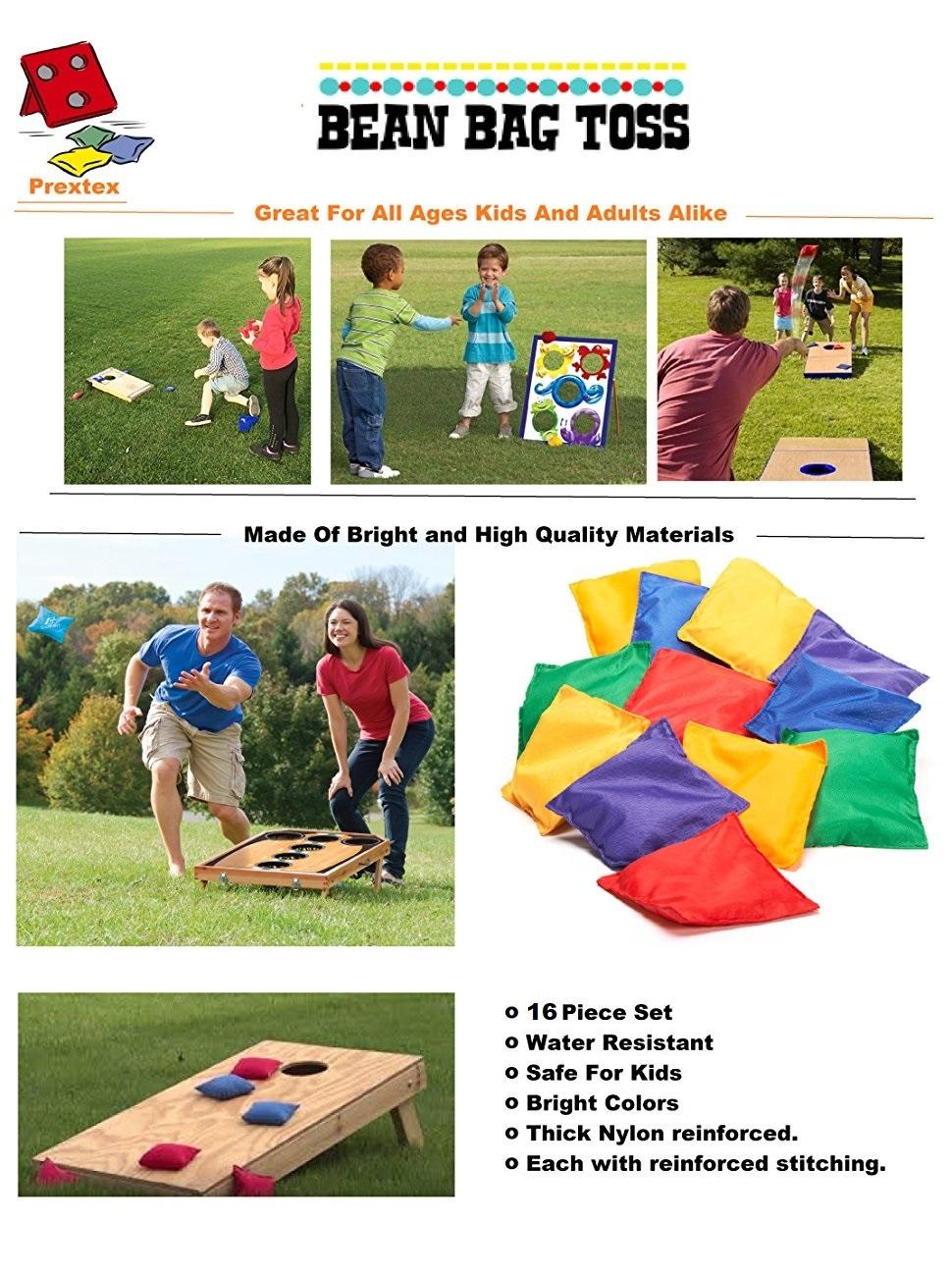 Amazon Com Prextex 16 Pack Nylon Bean Bags Fun Sports