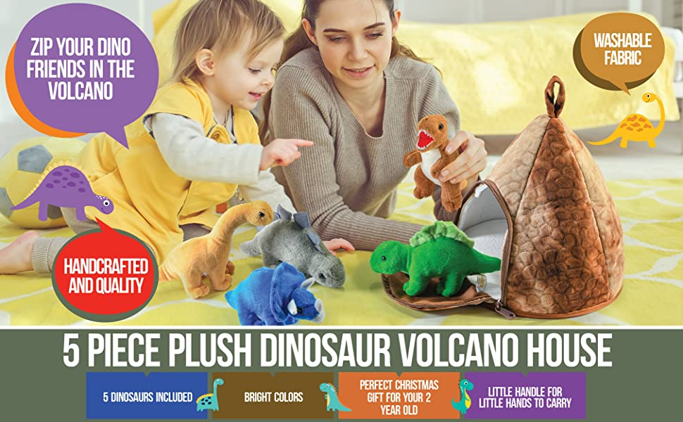 plush dinosaur volcano house christmas holiday birthday gift for boys girls baby babies kids toddler