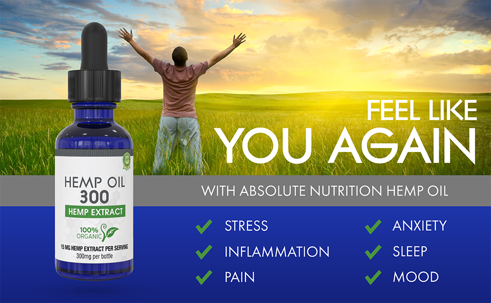 Hemp Oil for Pain, Anxiety & Stress Relief - 300mg - 100% Organic Hemp  Extract Drops - Natural