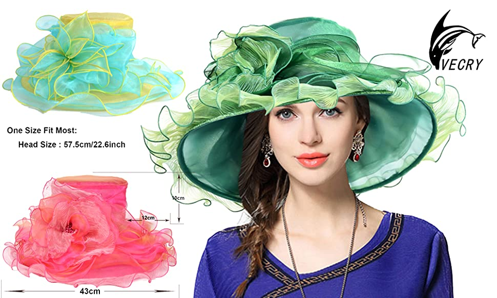 b454f4c63 Kentucky Derby Hat Wide Brim Flounce Cocktail Tea Party Bridal Dress Church  Hat