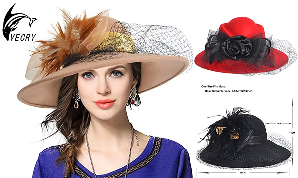 f0819a89b93db VECRY is here with Introducing The Highest Quality Wide Brim Wool Felt  Cloche Bowler Hat   Cap