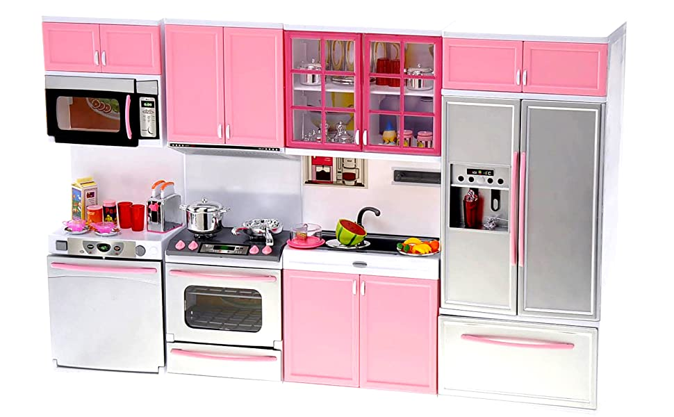 Amazon Com Powertrc Kids Battery Operated Modern Kitchen Playset Great For Dolls And Toy Figures Toys Games