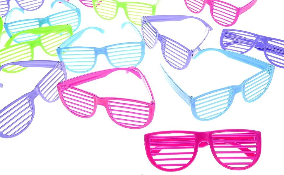 3b4c172190 Amazon.com  PowerTRC 80 s Sunglasses Party Favors Kids Shutter ...