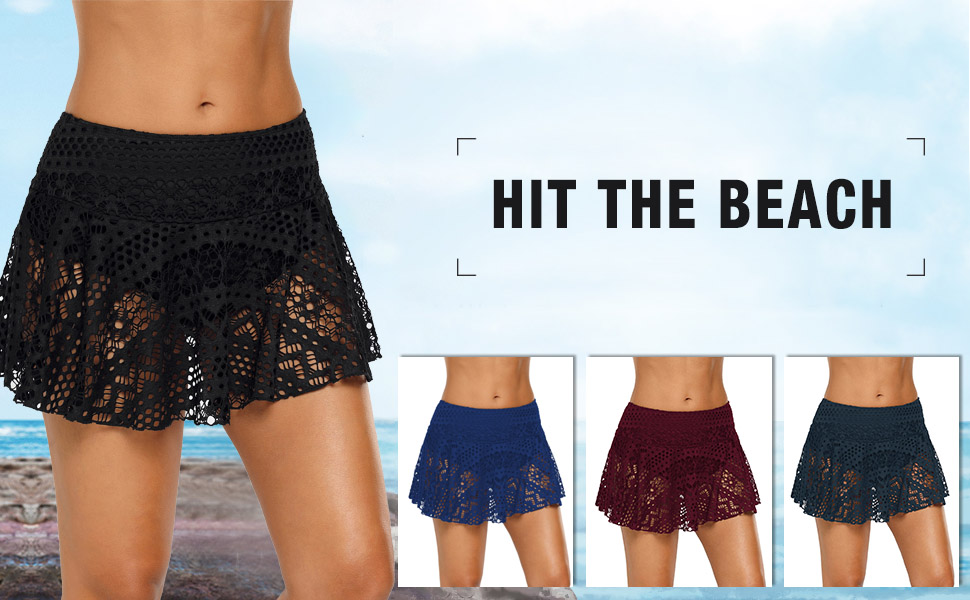 22f20a2595 ACKKIA Women's Lace Crochet Skirted Bikini Bottom Short Skort Swimdress  Swimsuit