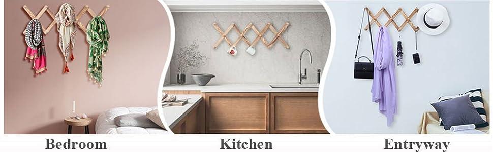 wood coat rack can be hanging in bedroom, kitchen, hallway, etc.
