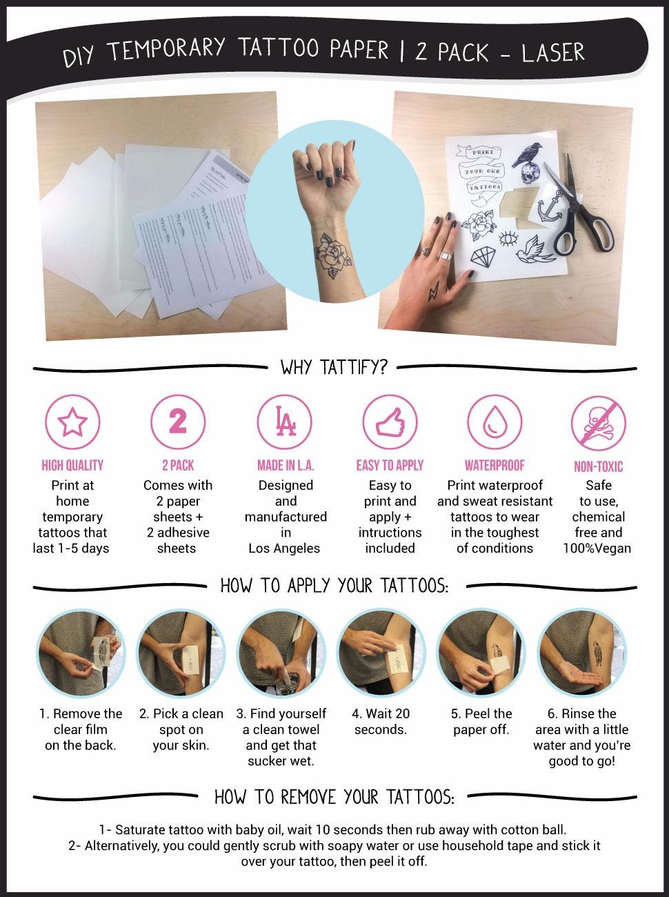 Tattify Diy Temporary Tattoo Paper 2 Sheet Pack For Laser Printers Printable Long Lasting Custom Tattoos