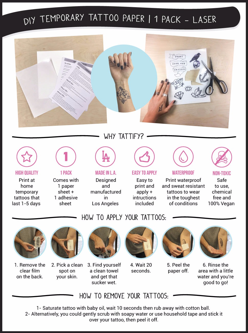 Agile image within printable tattoos paper