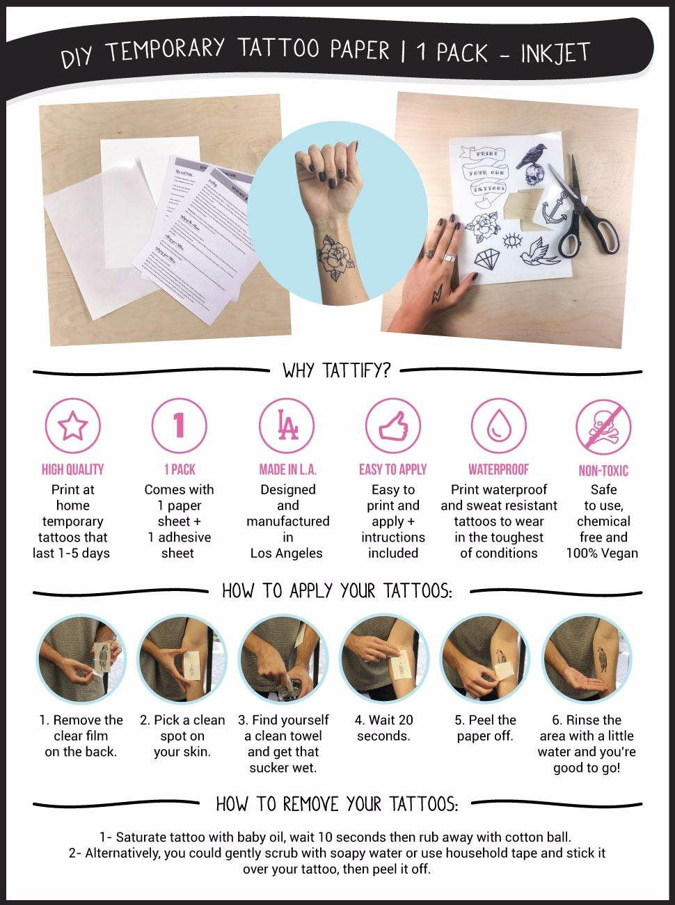 Amazon.com : Tattify DIY Temporary Tattoo Paper 1 Sheet Pack For ...