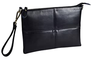 Forestfish Ladies' Black Leather Crossbody Handbag Wristlet ...